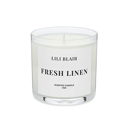 LILI BLAIR Candles | Fresh Linen | Luxury Scented Candle | Premium Jar Candle | Long Lasting | All-Natural Soy Wax | Highly Scented Fragrances | Hand Poured in USA | Small - 6 oz.