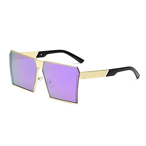 Gafas De Sol Nuevas Mujeres Gafas De Sol Cuadradas para Mujeres Hombres Gafas Graduadas De Gran Tamaño Únicas Uv400 Dorado-Morado