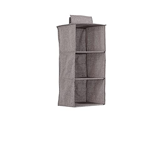 Shelf Hanging Closet Organizer,Grey Wardrobe Hanging Shelves,Foldable Canvas Clothes Storage Hanger for Sweater,Shoes,Kids,Nursery and Clothing Accessories (3 Shelves, Grey3)