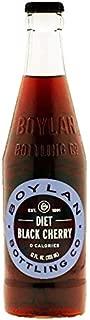 Boylan Bottling Pure Cane Sugar Soda Pop, Diet Black Cherry, 12 oz Glass Bottles (Pack of 6)