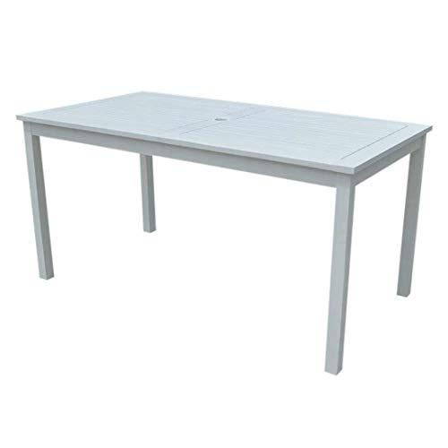 OUTLIV. Landhaus Gartentisch 150x80 cm mit Gestell und Tischplatte aus Akazienholz in Weiß für 6 Personen