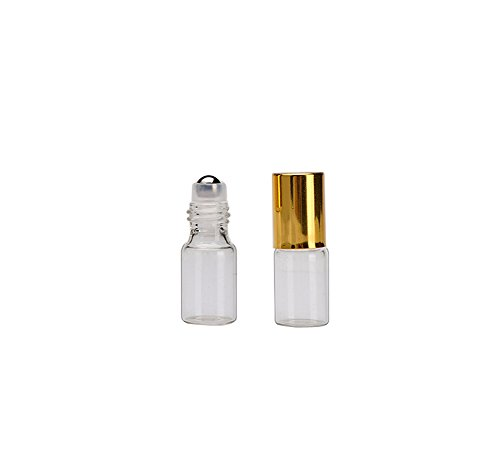 3ml Roller Bottles 20 Pcs Clear Glass Roll on Bottles Refillable Essential Oil Perfume Rollerball Bottles Container vial (gold cap)