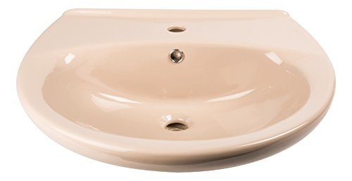 'aquaSu® Waschtisch | Waschbecken | Waschplatz | Beige | 60 cm | Braun | Bad | Badezimmer | Gäste-WC | Keramik | Nostalgie | Mit Überlaufschutz