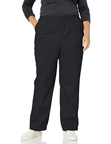 Chic Classic Collection Women's Petite Plus Stretch Elastic Waist Pull-On Pant, Black Twill, 22P