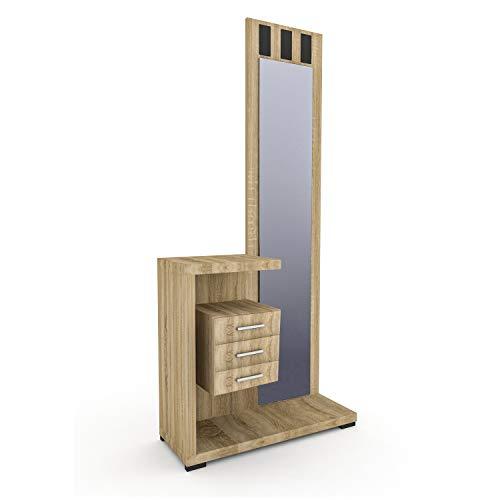 HomeSouth - Recibidor con Espejo y Tres cajones, Mueble de Entrada Acabado en Cambria, Modelo Prisma, Medidas: 75 x 85 x 27,9 cm de Fondo