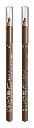 Rimmel Brow This Way Fibre Pencil, Medium Brown, Pack of 2, 0.05 Ounce