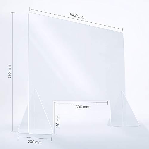 reflecto Spuckwand | 100cm oder 73cm breit | Thekenaufsatz mit Durchreiche | Nies- und Spuckschutz gegen Tröpfcheninfektionen | transparente 5mm Kunststoffbarriere zum Virenschutz (100 x 73 cm)