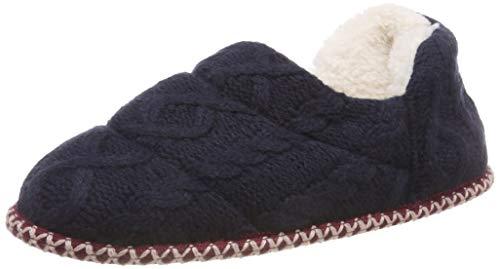 Dearfoams Quilted Cable Knit Bootie, Botas de Estar por casa Mujer, Blue Peacoat 00498, 38/39 EU