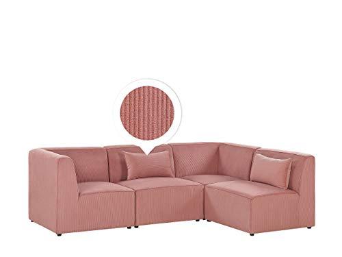 Canapé d'angle 4 places Rose Velours Moderne