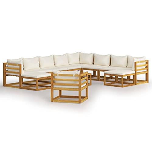 vidaXL Madera Maciza de Acacia Muebles de Jardín 12 Piezas Cojines Mobiliario Hogar Terraza Exterior Sofá Mesa Asiento Suave con Respaldo Crema