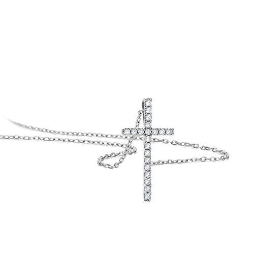 Orovi Schmuck Damen 0.10 Ct Diamant Halskette Weißgold Kettenanhänger Kreuz mit Diamanten Brillanten Kette aus 14 Karat (585) Gold, 45 cm lang