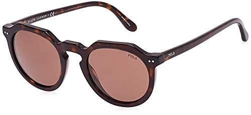 Polo Ralph Lauren Men's PH4138 Round Sunglasses, Dark Havana/Brown, 49 mm