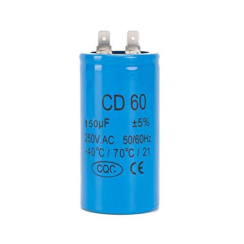 ICQUANZX 150UF CD60 Condensatore per Lavatrice Auto Motore a Lama Singola con Cavo 250V 50 / 60Hz per Avvio di Motori CA con frequenza di 50Hz / 60Hz Hz Come condizionatori d'Aria e Motori