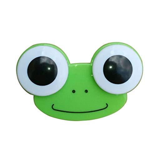 GDFGBDCD Kontaktlinsenbox mit 3D-Motiv mit großen Augen, Eulen-Frosch, Herren, Grüner Frosch