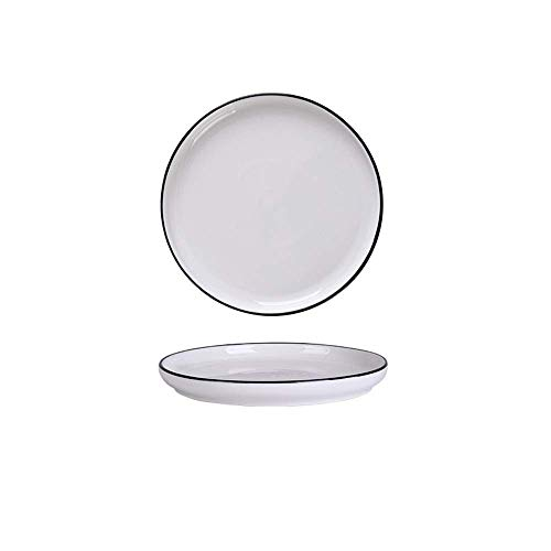 XUSHEN-HU cerámica Europa nórdica cerámicos de Uso doméstico Simple Vajilla Negro Negro Cubiertos Cubiertos Plato Blanco M de 10 Pulgadas Clásico