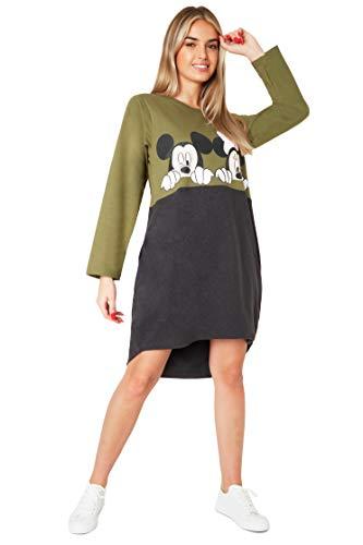 Disney Vestidos Mujer Casual con Minnie y Mickey Mouse, Jersey Largo Mujer, Vestido Mujer de Manga Larga, Regalos para Mujer y Adolescente Talla S-XL (Caqui, S)