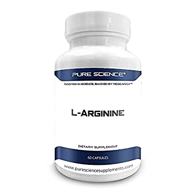 Pure Science L-Arginine Supplements 750mg - Improve Coronary & Cardiovascular Health, Improve Immune Function, Blood Flow & Physical Performance - 100 Vegetarian Capsules of L-Arginine Powder