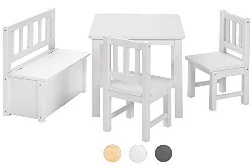 BOMI Kindertisch mit 2 Stühle mit integrierter Spielzeugkiste | Kindertruhenbank aus Kiefer Massiv Holz für Kleinkinder, Mädchen und Jungen Weiß