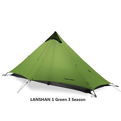 TENT HDS 2019 LanShan 1/2 FLAME'S CREED 1/2 Person Oudoor Ultralight Camping 3 Season Professional 15D Silnylon Rodless (Color : 15D Green 1 people)