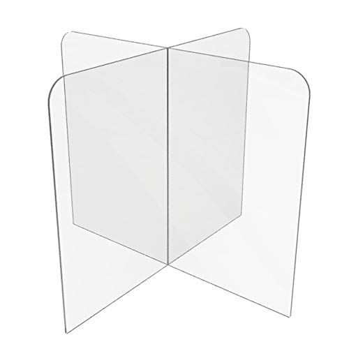 Sneeze Guard for Counter or Table (30'W x 24'W x 30'D), Freestanding Plexiglass Shield Table Divider, Clear Acrylic Plastic Barrier for Countertop, Desk, Restaurant, School Classroom [Made in USA]