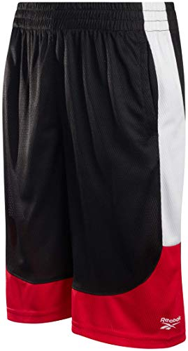 Reebok Boys Basketball Shorts - Performance Athletic Shorts for Boys (Solid Red, Small)'