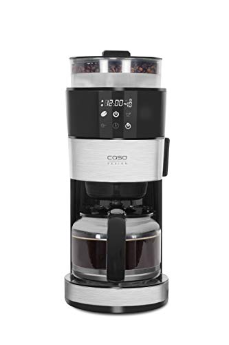 Caso 1856 Grande Aroma 100-Design Kaffeemaschine, 10 Tassen Kaffee Kaffeemschine mit Kegelmahlwerk, 1000, 1.4 liters, Edelstahl, schwarz