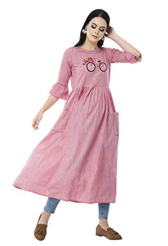 AnjuShree Choice Women Stitched Printed Rayon Anarkali Kurti Kurta (New Festival Collection) Medium Pink