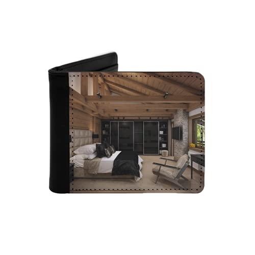 Portefeuille Mince en Cuir pour Hommes,Le Rendu 3D Chambre Cosy est dans Le Grenier d'un Chalet Un Immense lit avec de Nombreux oreillers Domine,Portefeuille Simple