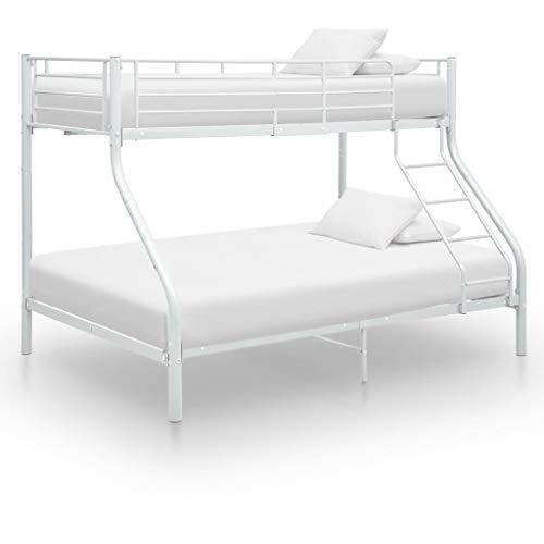 Goliraya Estructura de litera de Metal Blanco 140x200 cm/90x200 cm