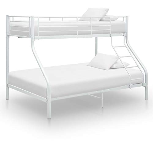 Tidyard Bunk Bed Frame/Bed Frame Double White Metal 140x200 cm/90x200 cm