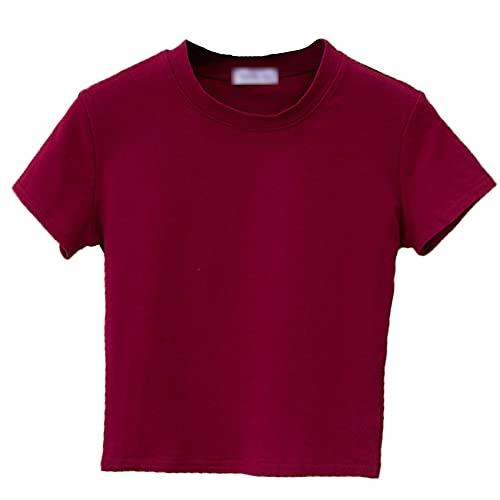 Camiseta de Manga Corta para el Ombligo con Cuello Medio Alto, Camiseta Ajustada para el Ombligo de Verano para Mujer, Camiseta Corta con Cintura Alta y Color sólido para Deportes