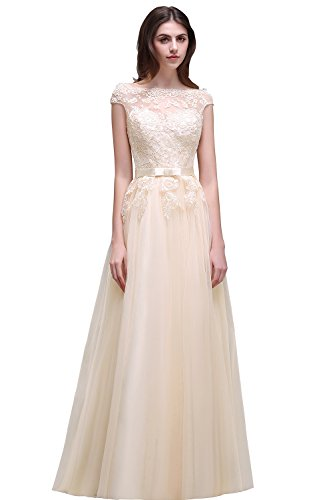 Babyonline® Damen Hochwertig Abendkleider Lang Ballkleid Off Shoulder Dress Maxi Meerjungfrau Beige Applique 44