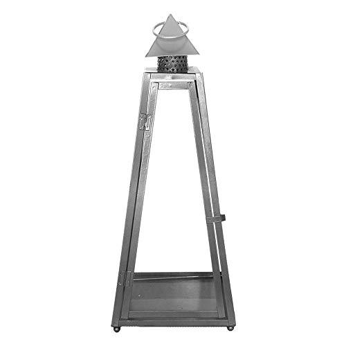 Rivanto® Laterne Pyramide L 21 x 21 x 55 cm, aus Eisen, Grablicht, Windlicht mit Transporthenkel, Gartenlaterne, Terrasse & Balkon