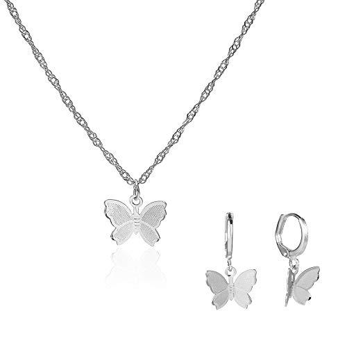 Juland - Collar con colgante de mariposa, diseño de mariposa, minimalista, joyería personalizada...