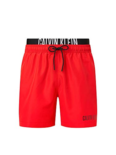 Calvin Klein Medium Double WB Slips de Bain, Rouge Fierce, S Homme