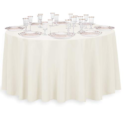 LinenTablecloth 120-Inch Round Polyester Tablecloth Ivory