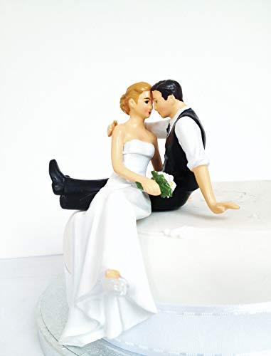 DreamWedding-UK Décoration pour gâteaux mariée et marié Assis Debout en résine synthétique, Noir/Marron/Blanc, 5 x 12 x 12 cm