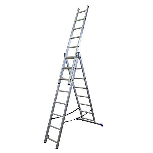 Alumexx Schiebeleiter 3-Teilig - 3x8 Sprossen - Stehleiter - Kombinationsleiter - Ausziehleiter - Mehrzweckleiter - Alu - Allzweckleiter - Doppelsprossenleiter - 4,5 m Lang (Ausgefahren)