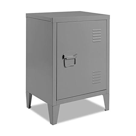 IDMarket - Table de Chevet Estel en métal Gris foncé