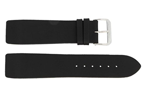 Fluco Lederband | Schwarz | zum befestigen mit Schrauben für Uhren | 24 mm