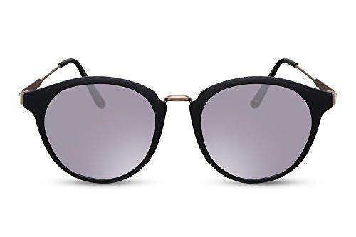 Cheapass Gafas de sol Redondas Mate Montura Negra Metálica Plateadas Lentes Espejadas UV400 Vintage Diseñador Gafas Mujeres Hombres