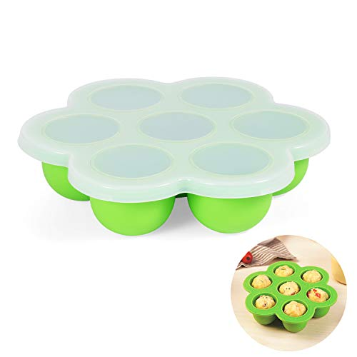 Ellsang Ice Cube Tray With Lids, BPA Free Silicone Baby Food Storage Container Ice Ball Mold,7 Cups Reusable Freezer Tray Makes Mini Quiches, Meatloaf and Brownie Bites in Pressure Cooker (Green)