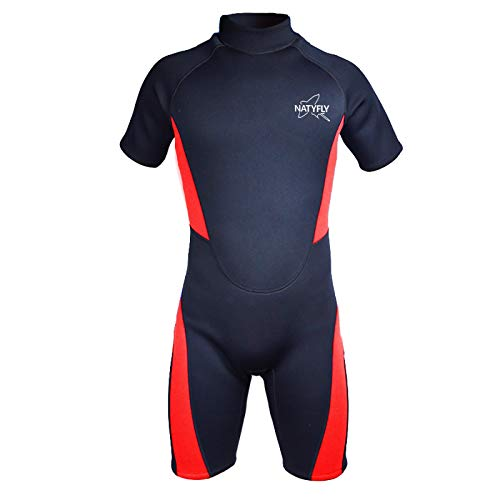 NATYFLY Wetsuit Men 3mm Neoprene Shorty Surfing Wetsuits for Women (Red/Shorty Wetsuit, M)