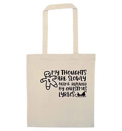 Flox Creative Tote Bag Thoughts Replace Christmas Lyrics, Beige (Naturale), Taglia unica