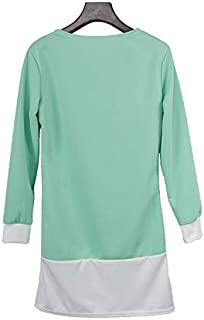 ZCLAU Long Section of Mixed Colors Slim Round Neck Sleeve Dress Pocket (Color : Green, Size : XL)