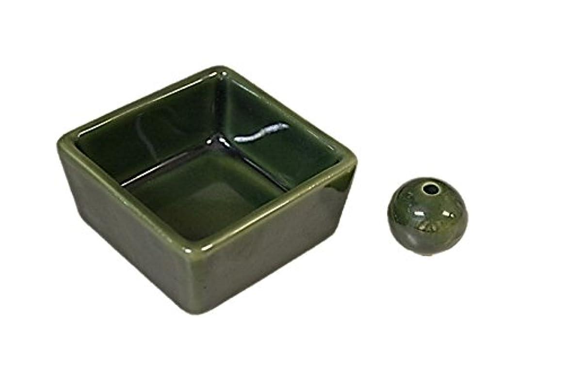 驚アジア人肥満和モダン 織部 お香立て 陶器 角鉢 製造直売品