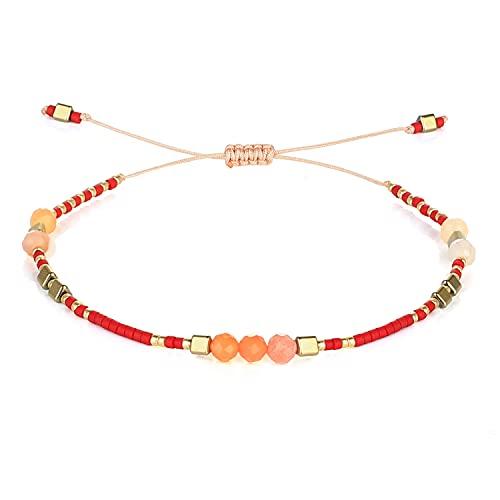 C·QUAN CHI New Wrap Freundschaftsarmband Bunte dünne Miyuki Achat Perlen Strand Armband Armreif Strand Sand verstellbare Armbänder Charme Schmuck für Frauen