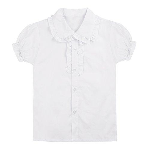 CHICTRY Große Mädchen Schuluniform Oxford Kurz Puff Ärmel Bluse Dirndl Bluse Trachtenbluse T-Shirt mit Rüsche Gr. 104-158 Weiß 128-134