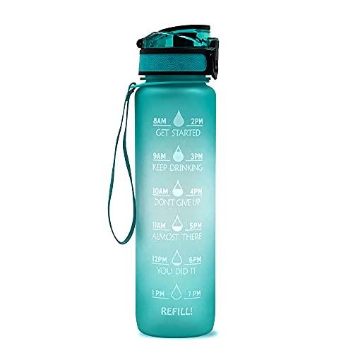Prasacco Botella de agua de 1 litro con paja y tapa a prueba de fugas, botella de agua sin BPA con marcador de tiempo, botellas de 1000 ml para ciclismo, correr, gimnasio, yoga, camping
