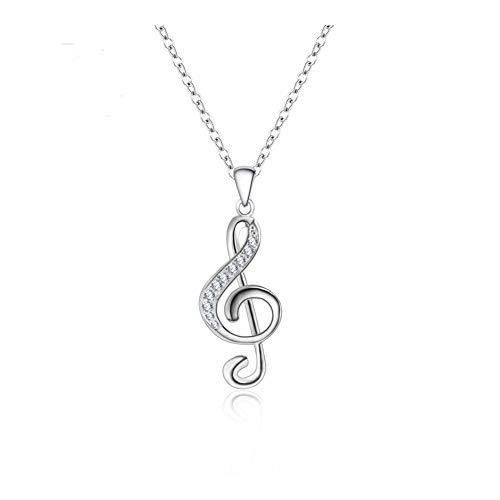 Nuevas 1 PC Crystal Music Note Cadena Collar Colgante de Color Collar de Plata for la joyería Muchachas de Las Mujeres Bonitos Regalos Mujer